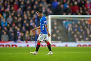 Alfredo Morelos (#20) of Rangers FC sarcastically applauds the referee Steven McLean after being shown a red cardduring the Ladbrokes Scottish Premiership match between Rangers and Aberdeen at Ibrox, Glasgow, Scotland on 5 December 2018.
