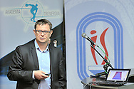 Pawel Slominski (Ministry of Sport) speaks during conference of olympic trainers and coaches at COS (Centralny Osrodek Sportowy) in Spala on May 14, 2014.<br /> <br /> Poland, Spala, May 14, 2014<br /> <br /> Picture also available in RAW (NEF) or TIFF format on special request.<br /> <br /> For editorial use only. Any commercial or promotional use requires permission.<br /> <br /> Mandatory credit:<br /> Photo by © Adam Nurkiewicz / Mediasport