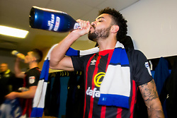 Free to use courtesy of Sky Bet - Derrick Williams of  Blackburn Rovers celebrates winning promotion to the Sky Bet Championship - Mandatory by-line: Robbie Stephenson/JMP - 24/04/2018 - FOOTBALL - The Keepmoat Stadium - Doncaster, England - Doncaster Rovers v Blackburn Rovers - Sky Bet League One