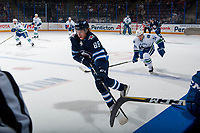 PENTICTON, CANADA - SEPTEMBER 8: Rickard Hugg #88 of Winnipeg Jets skate with the puck against the Vancouver Canucks September 8, 2017 at the South Okanagan Event Centre in Penticton, British Columbia, Canada.  (Photo by Marissa Baecker/Shoot the Breeze)  *** Local Caption ***