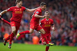 13.04.2014, Anfield, Liverpool, ENG, Premier League, FC Liverpool vs Manchester City, 34. Runde, im Bild Liverpool's Philippe Coutinho Correia celebrates scoring the third goal against Manchester City // during the English Premier League 34th round match between Liverpool FC and Manchester City at Anfield in Liverpool, Great Britain on 2014/04/13. EXPA Pictures © 2014, PhotoCredit: EXPA/ Propagandaphoto/ David Rawcliffe<br /> <br /> *****ATTENTION - OUT of ENG, GBR*****