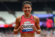 Jenna Prandini of the United States of America celebrates winning the Women's 200m final during the Muller Anniversary Games, Day Two, at the London Stadium, London, England on 22 July 2018. Picture by Martin Cole.