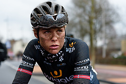 A hard day done for Julie Leth at Ronde van Drenthe 2018 - a 157.2 km road race on March 11, 2018, from Emmen to Hoogeveen, Netherlands. (Photo by Sean Robinson/Velofocus.com)