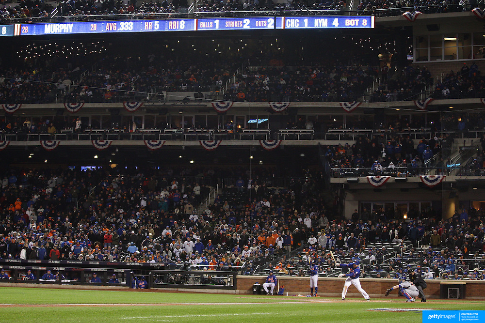 Daniel Murphy, New York Mets, batting during the MLB NLCS Playoffs game two, Chicago Cubs vs New York Mets at Citi Field, Queens, New York. USA. 18th October 2015. Photo Tim Clayton