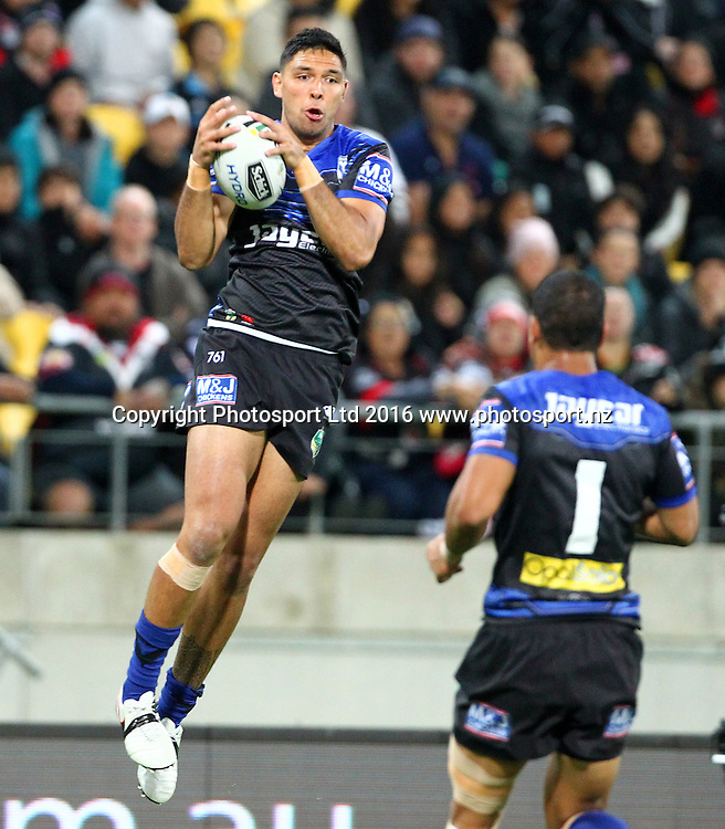 Bulldogs' Cutis Rona catches a high ball during the Round 7 NRL match, Canterbury-Bankstown Bulldogs v Vodafone Warriors at Westpac Stadium, Wellington. 16th April 2016. Copyright Photo.: Grant Down / www.photosport.nz
