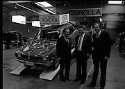 Toyota roll out 10,000th car assembled in Ireland..(L18)..1977..26.05.1977..05.26.1977..26th May 1977..Today saw the rolling out of the 10,000th car to come off the assembly line at Toyota Irl.,Ltd. The car,a Corolla,is part of a range that has made Toyota the fourth best selling range of cars in Ireland...Picture shows  (L-R) Mr Denis Fitzgibbon, Sales Director, Mr Tim Mahony, Chairman and Managing Director and Mr Larry Doyle, Deputy Managing Director at the roll out of the 10,000 Toyota car assembled here..