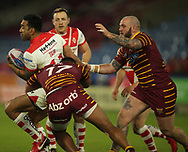 Ukuma Ta&rsquo;ai of Huddersfield Giants tackles Zeb Taia of St Helens during the Betfred Super League match at the John Smiths Stadium, Huddersfield<br /> Picture by Stephen Gaunt/Focus Images Ltd +447904 833202<br /> 23/02/2018