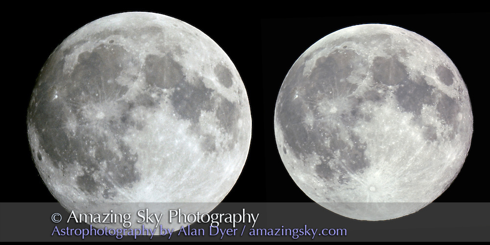 Moon at close perigee (February 1992) at left and at far apogee (July 1992) at right<br /> <br /> Size difference due to distance to Moon, and is not faked in Photoshop or created by shooting setup:<br /> <br /> Same scope and focal length for both images: Celestron Ultima 8 SCT with projection adapter tube as prime focus adapter for effective f/12.5 and 2500mm focal length. Perigee image was cut off slightly at bottom limb.<br /> <br /> Kodachrome 25 film.COlor correction applied to make both as similar as possible and apogee images rotated to match orientation, though libration effect prevents an exact match.
