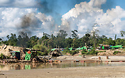 Nang Hein Goldmine on the Chindwin River Homalin Township North Eastern Myanmar 2017.<br /> There are up to two hundred mines in the area where workers are paid $US 10 a day. Malaria was as high as 60% in 2011. In 2017 it is 4% after a Save the Children Malarial treatment and prevention program. In the mining communities there is heavy drug use.
