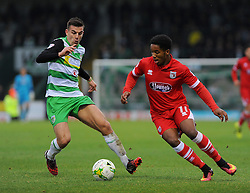 Alex Lacey of Yeovil Town applies pressure on Rhys Browne of Grimsby Town- Mandatory by-line: Nizaam Jones/JMP - 29/10/2016/ - FOOTBALL - Hush Park - Yeovil, England - Yeovil Town v Grimsby Town - Sky Bet League Two