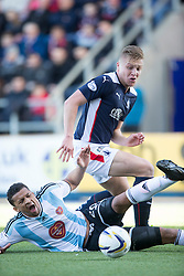 Hearts Osman Sow and Falkirk's Peter Grant.<br /> Half time ; Falkirk 0 v 1 Hearts, Scottish Championship game played 21/3/2015 at The Falkirk Stadium.