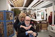 CHRISTINE BLAKE; PETER BLAKE IN FRONT OF A RECREATION OF HIS STUDIO,  Opening of Frieze Masters. Regents Park, 4 October 2017