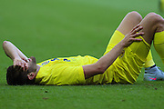 Leonardo Carrilho Baptistao in pain during the Pre-Season Friendly match between Derby County and Villarreal CF at the iPro Stadium, Derby, England on 29 July 2015. Photo by Aaron Lupton.