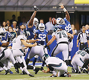 The Colts try in vain to stop Eagles kicker Cody Parkey from hitting the game winning field goal in the closing seconds for a 30-27 win over the Colts. Indianapolis hosted Philadelphia for Monday Night Football on Monday, September 15, 2014 at Lucas Oil Stadium.