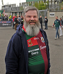 Mayo supporter from Fr Michael Murphy PP of Hollymount Roundfort at McHale park.<br />Pic Conor McKeown