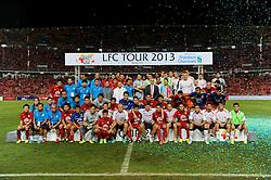 BANGKOK, THAILAND - Sunday, July 28, 2013: Liverpool and Thailand players come together after a preseason friendly match at the Rajamangala National Stadium. (Pic by David Rawcliffe/Propaganda)