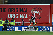 Brentford Midfielder, Lewis Macleod (4) celebrates after scoring a goal 1-1 during the EFL Sky Bet Championship match between Brentford and Middlesbrough at Griffin Park, London, England on 17 March 2018. Picture by Adam Rivers.