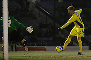 Picture by David Horn/Focus Images Ltd +44 7545 970036.11/12/2012.Andy Bishop of Bury shoots during the The FA Cup match at Roots Hall, Southend.