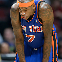 17 December 2009: New York Knicks forward Al Harrington rests during the Chicago Bulls 98-89 victory over the New York Knicks at the United Center, in Chicago, Illinois, USA.