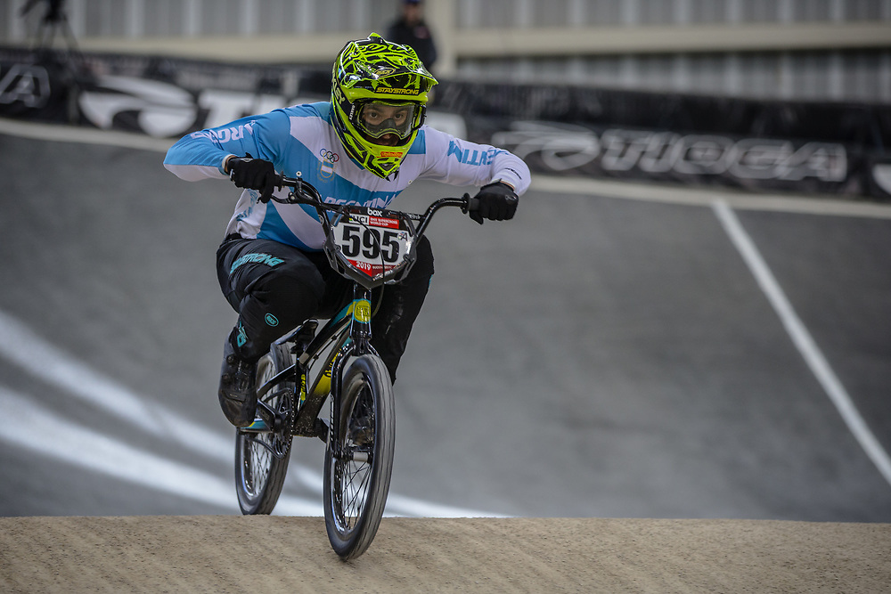 #595 (MOLINA Gonzalo) ARG at Round 2 of the 2019 UCI BMX Supercross World Cup in Manchester, Great Britain