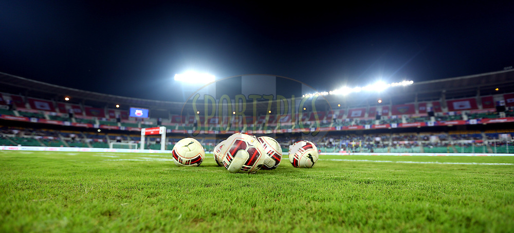 ISL officail Ball during match 9 of the Hero Indian Super League between Chennaiyin FC and Kerala Blasters FC held at the Jawaharlal Nehru Stadium, Chennai, India on the 21st October 2014.<br /> <br /> Photo by:  Sandeep Shetty/ ISL/ SPORTZPICS