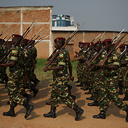 Burundi soldiers march at the entrance of the Prince Rwagasore Stadium in Bujumbura during the celebrations of the Country 53rd Independence Anniversary.