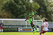 Forest Green Rovers Dale Bennett(2) heads the ball clear during the EFL Sky Bet League 2 match between Forest Green Rovers and Accrington Stanley at the New Lawn, Forest Green, United Kingdom on 30 September 2017. Photo by Shane Healey.