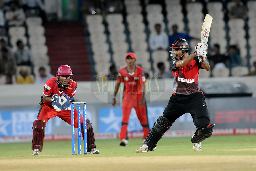 Abdul Razzaq of Leicestershire Foxes bats during the CLT20 - Q5 match between Leicester and Ruhunu held at the Rajiv Gandhi International Stadium, Hyderabad on the 21st September 2011..Photo by Pal Pillai/BCCI/SPORTZPICS
