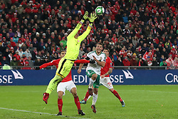 Switzerland goalkeeper Yann Sommer claims the ball under pressure during the FIFA World Cup Qualifying second leg match at St Jakob Park, Basel.