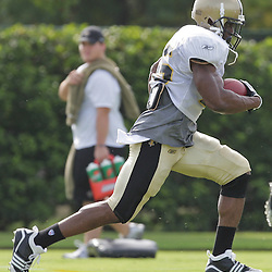 31 July 2009:New Orleans Saints running back Reggie Bush (25) runs drills during the opening day of New Orleans Saints training camp held at the team's practice facility in Metairie, Louisiana.
