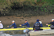 London, UK,  2014 Varsity, Annual Tideway Week. OUBC, Oxford University Boat Club, Blue Boat, crew practicing a training exercise, Mike DI SANTO (left), Malcolm HOWARD (centre left), Thomas SWARTZ (c. 03:54:31  Wednesday  02/04/2014  : [Mandatory Credit Intersport Images]