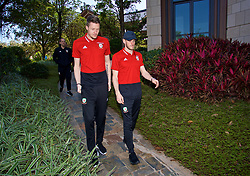 NANNING, CHINA - Tuesday, March 20, 2018: Wales' goalkeeper Wayne Hennessey and Gareth Bale during a team walk at the Wanda Realm Resort ahead of the 2018 Gree China Cup International Football Championship. (Pic by David Rawcliffe/Propaganda)