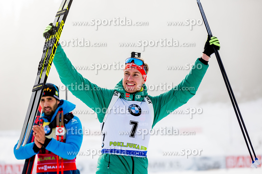 Johannes Kuehn (GER) during Flower ceremony after the Men 20km Individual at day 5 of IBU Biathlon World Cup 2018/19 Pokljuka, on December 6, 2018 in Rudno polje, Pokljuka, Pokljuka, Slovenia. Photo by Ziga Zupan / Sportida