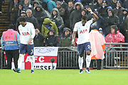 Serge Aurier of Tottenham Hotspur (24) celebrating after scoring goal to make it 1-0 during the Premier League match between Tottenham Hotspur and Brighton and Hove Albion at Wembley Stadium, London, England on 13 December 2017. Photo by Matthew Redman.