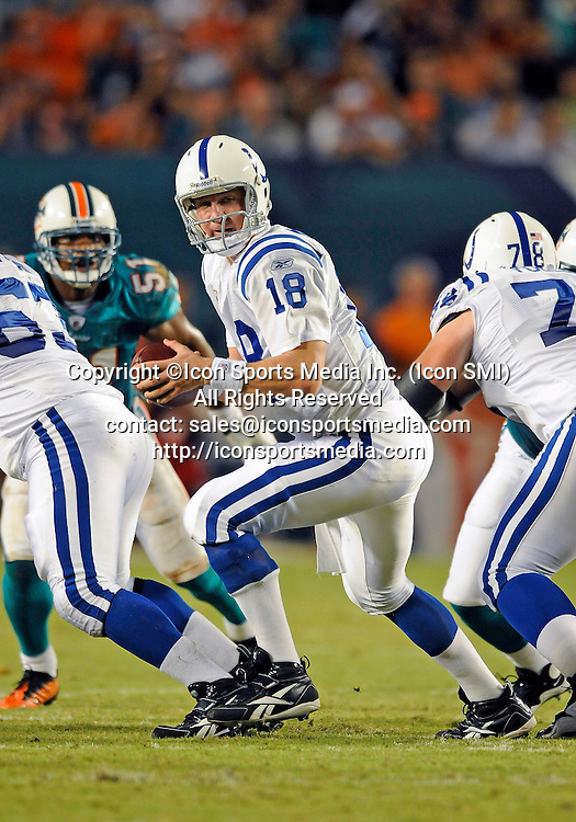 21 September 2009:  Indianapolis  Colts quarterback Peyton Manning (18) plays against the Miami Dolphins in the Colts' 27-23 victory at Land Shark Stadium, Miami, Florida.
