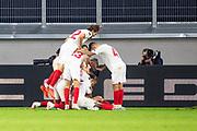 GOAL Celebration Lucas Ocampos (#5, Sevilla FC) jubelt nach seinem Tor zum 0:1 mit seiner Mannschaft during the Europa League quarter-final match between Wolverhampton Wanderers and Sevilla at Schauinsland-Reisen MSV-Arena, Duisburg, Germany on 11 August 2020.