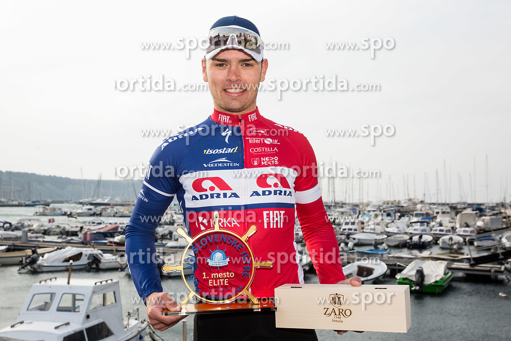 Winner Dusan Rajovic of Adria Mobil celebrates at Trophy ceremony after the cycling race 5. VN Slovenske Istre / 5th Slovenian Istra Grand Prix, on February 25, 2018 in Izola/ Isola, Slovenia. Photo by Vid Ponikvar / Sportida