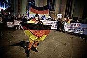 Frankfurt am Main | 02 Feb 2015<br /> <br /> Am Montag (02.02.2015) demonstrierten in Frankfurt an der Hauptwache etwa 60 PEGIDA-Anh&auml;nger mit teils extrem rassistischen Reden und Parolen z.B: gegen &quot;Islamisierung&quot;, an den Aktionen gegen die Rechtsextremisten nahmen mehrere tausend Menschen teil.<br /> Hier: Die PEGIDA-Demo.<br /> <br /> &copy;peter-juelich.com<br /> <br /> [No Model Release | No Property Release]