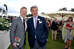 Left to right, SIR KENNETH BRANAGH and ARNAUD BAMBERGER at the Cartier Queen's Cup Polo Final, Guards Polo Club, Windsor Great Park, Berkshire, on 17th June 2012.