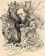 James Payn (1830-1898) English writer and poet, author of 100 novels of which the most successful were 'Lost Sir Massingbird (1864) and 'By Proxy' (1878).   Cartoon by Edward Linley Sambourne in the Punch's Fancy Portraits series from 'Punch' (London, 10 December 1881).