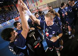Dino Bajram and Miha Zvizej at handball match of 5th Round of qualifications for EHF Euro 2010 in Austria between National team of Slovenia vs Bulgaria, on November 30, 2008 in Velenje, Slovenia. (Photo by Vid Ponikvar / Sportida)