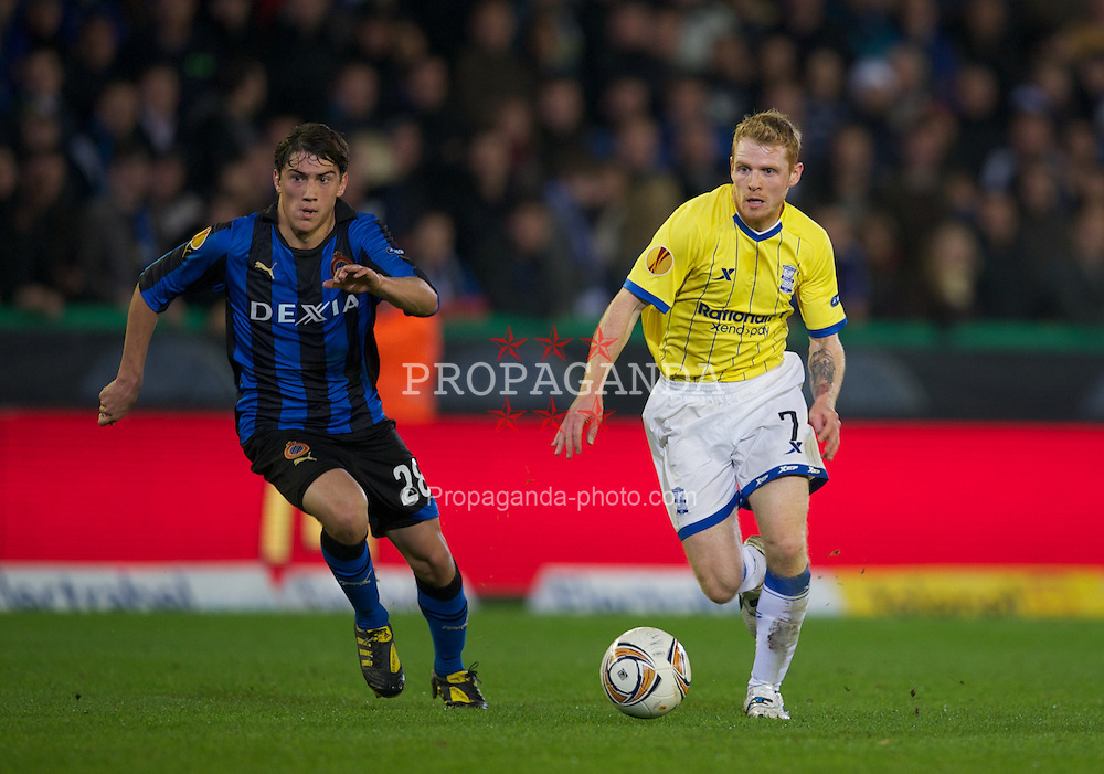 BRUGES, BELGIUM - Thursday, October 20, 2011: Birmingham City's Chris Burke in action against Club Brugge during the UEFA Europa League Group H match at the Jan Breydelstadion. (Pic by David Rawcliffe/Propaganda)