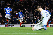 Goal - Ronan Curtis (11) of Portsmouth celebrates after he scores a goal to give a 1-0 lead with Will Norris (12) of Ipswich Town looking dejected during the EFL Sky Bet League 1 match between Portsmouth and Ipswich Town at Fratton Park, Portsmouth, England on 21 December 2019.