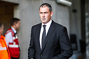Swansea City Head Coach Paul Clement arrives at the stadium, before the Premier League match between Swansea City and Watford at the Liberty Stadium, Swansea, Wales on 23 September 2017. Photo by Andrew Lewis.
