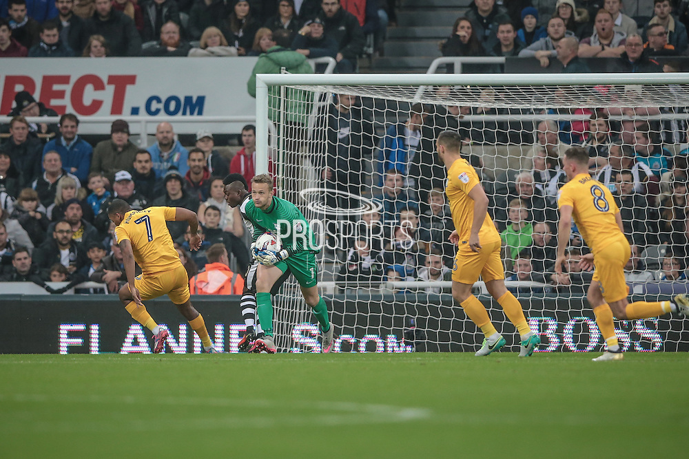 Anders Lindegaard (Preston North End) makes a save during the EFL Cup 4th round match between Newcastle United and Preston North End at St. James's Park, Newcastle, England on 25 October 2016. Photo by Mark P Doherty.