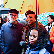Jeremy Corbyn and Shola Mos-Shogbamimu join March4Women 2020, on 8 March 2020, London, UK
