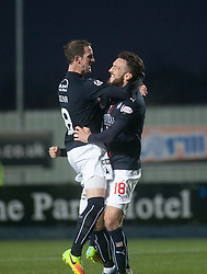 Falkirk's Lee Miller celebrates after scoring their first goal. Falkirk 3 v 1 St Mirren, Scottish Championship game played 3/12/2016 at The Falkirk Stadium.