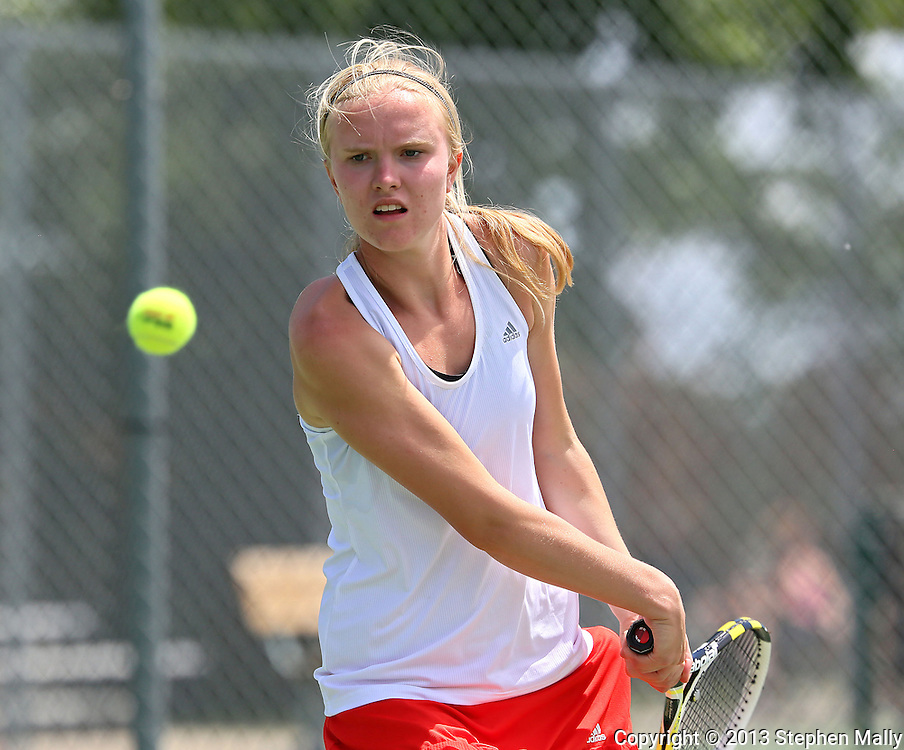 Cedar Rapids Washington's Lilly Hartman eyes the ball during the finals for the Doubles Draw of the Class 2A state tennis tournament at Veterans Memorial Tennis Center in Cedar Rapids on Friday, May 31, 2013.