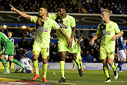 Huddersfield Town striker Nahki Wells celebrates the second goal during the Sky Bet Championship match between Birmingham City and Huddersfield Town at St Andrews, Birmingham, England on 5 December 2015. Photo by Alan Franklin.
