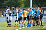 Forest Green Rovers assistant manager, Scott Lindsey instructing the players during a drinks break during the Vanarama National League match between Maidstone United and Forest Green Rovers at the Gallagher Stadium, Maidstone, United Kingdom on 27 August 2016. Photo by Adam Rivers.